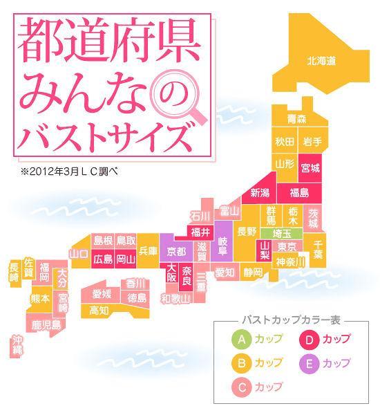 都道府県別 みんなのバストサイズ 図解・グラフ・一覧・比較の画像とか