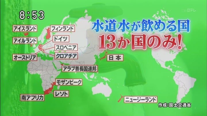 水道水が飲める国 図解・グラフ・一覧・比較の画像とか