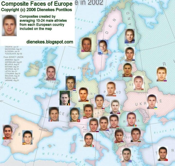 ヨーロッパ人の顔 図解・グラフ・一覧・比較の画像とか