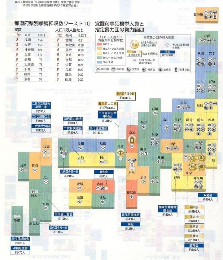 都道府県別拳銃押収数ワースト10 図解・グラフ・一覧・比較の画像とか