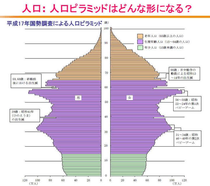 平成17年国政調査による人口ピラミッド 図解・グラフ・一覧・比較の画像とか