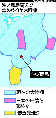 沖ノ鳥島周辺で認められた大陸棚 図解・グラフ・一覧・比較の画像とか