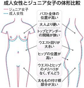 成人女子とジュニア女子の体型比較 図解・グラフ・一覧・比較の画像とか