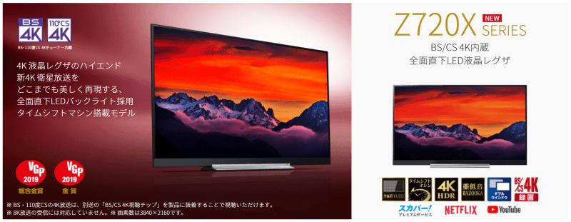4K HDRテレビ兼モニターとして東芝REGZA 49Z720Xを買いました